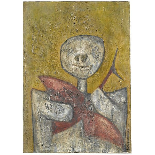 - Bahman Mohasses , Iranian B. 1931 Untitled oil on paper laid down on canvas