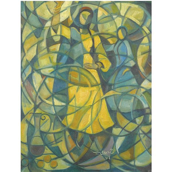 Hafiz Droubi , Iraqi 1914-1991 Dancing Girls oil on canvas