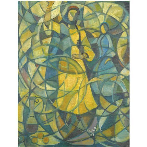 Hafiz Droubi , Iraqi 1914-1991 Dancing Girls oil on canvas