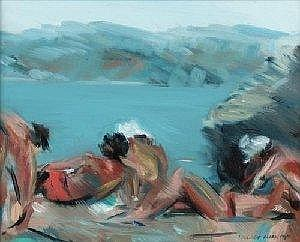 IRENE LESLEY MAIN, FL. FROM MID-1970S SUNBATHERS, SANTORINI, GREECE; ARDNAMURCHAN, SANNA BEACH each 20.5 x 25.5cm.; 8 x 10in. a pair, each signed and dated 1989 oil on board Quantity: 2 Exhibited: Leamington Spa, Mason-Watts Fine Art; Lesley Main