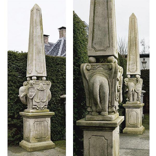 giovanni lorenzo bernini artwork for at online auction  a pair of carved limestone obelisks after the model by gian lorenzo bernini 1598