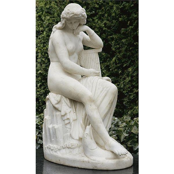 A WHITE MARBLE FIGURE OF A NEREID, After LUDWIG VON SCHWANTHALER (1802-1848)