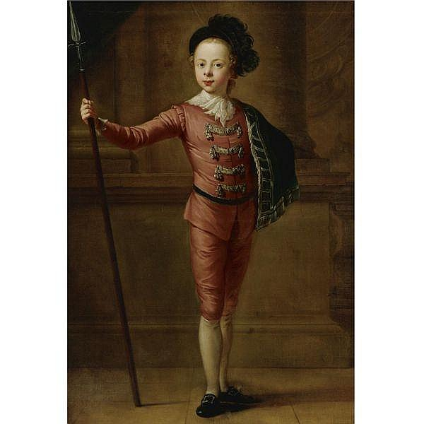 Attributed to Francis Hayman, R.A. c.1708-1776 , Portrait of a Young Boy in Fancy Dress oil on canvas