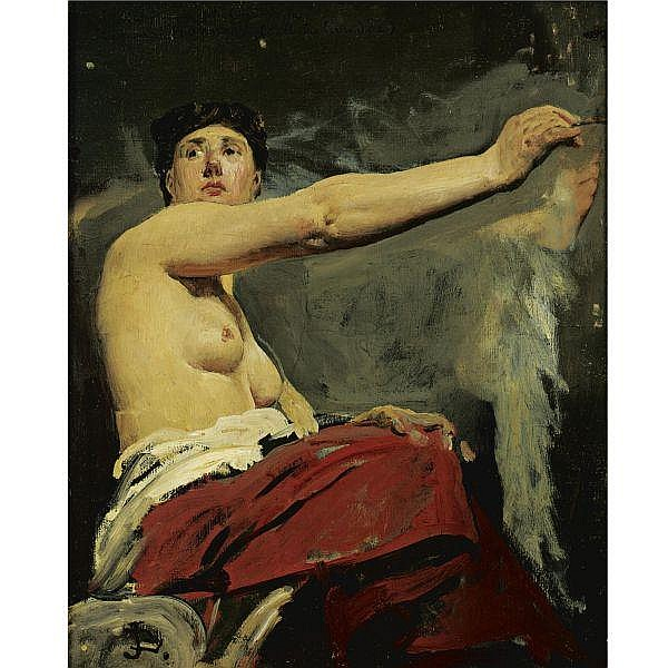 Jean-Paul Laurens 1838 - 1921 , Study for the central figure in the ceiling of the Palais de la Legion d'Honneur oil on canvas. Together with Jean-Paul Laurens, The Fire, oil on panel, 16 by 21 in. (40.7 by 53.5 cm.). (2 works)