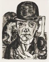 MAX BECKMANN | Self Portrait in Bowler Hat
