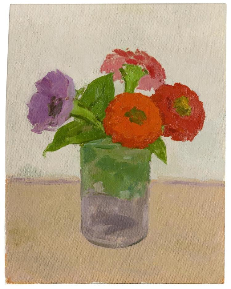 ALBERT YORK | A Purple Anemone with Zinnias in a Glass Jar