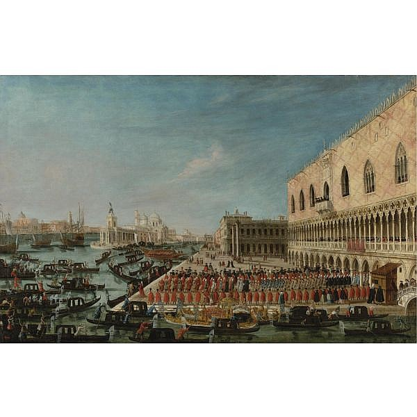 Gabriele Bella , Venice 1730 - 1799 A View of the Molo, Venice, looking West with a Procession of Ambassadors and Attendants Entering the Palazzo Ducale 60 1/4 by 38 1/2 in.; 153 by 98 cm.