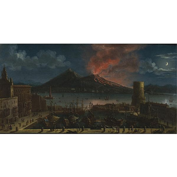 Tommaso Ruiz , Active in Naples during the second half of the 18th century   A Nocturnal View of the Port of Naples with the Lanterna del Molo, Vesuvius Beyond oil on copper