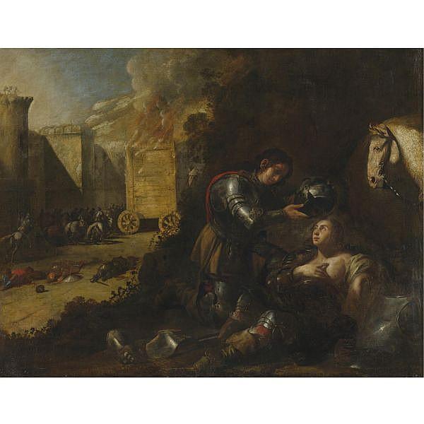 Aniello Falcone , Naples 1607 - 1656   Tancred and Clorinda oil on canvas