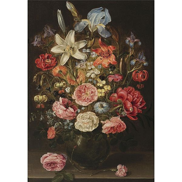 Clara Peeters , active, probably in Antwerp, 1607 - in or after 1621 A still life of lilies, roses, iris, pansies, columbine, love-in-a-mist, larkspur and other flowers in a glass vase on a table top, flanked by a rose and a carnation oil on panel