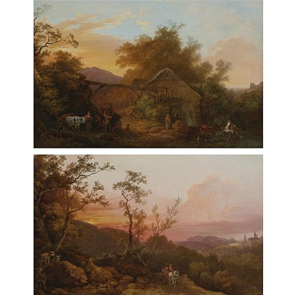 Philippe Jacques de Loutherbourg, R.A. , Strasbourg 1740 - 1812 London Landscape with a Watermill; Landscape with Travelers at Sunset a pair, both oil on canvas