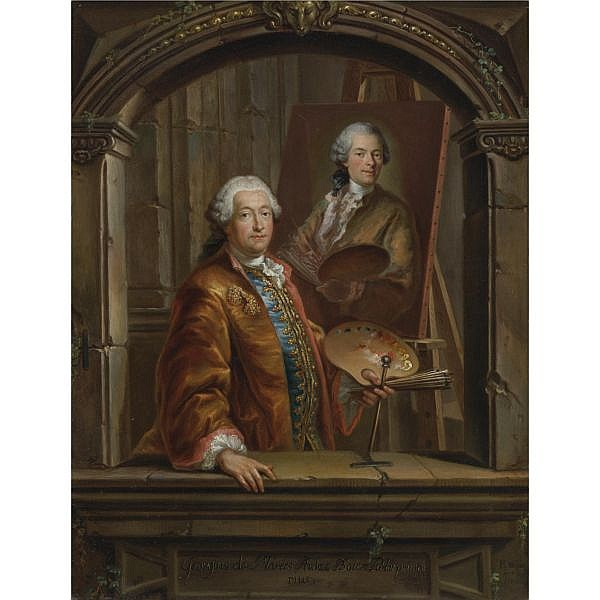 Bartholomäus Ignaz Weiss , Munich circa 1740-1814   Portrait of Georges Desmarées (1697-1776) at his Easel painting a portrait of Johann Christian Thomas Winck (1738-1797) oil on metal