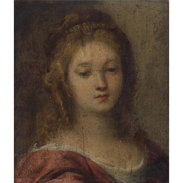 Carlo Francesco Nuvolone , Milan 1609 - 1662 Head of a Woman oil on panel, unframed