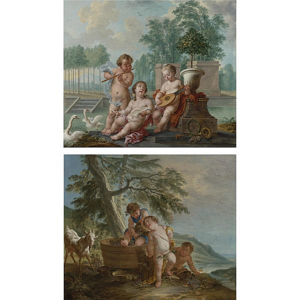 Jan Anton Garemyn , Bruges 1712 - 1799 Allegory of Summer; Allegory of Fall a pair, both oil on canvas