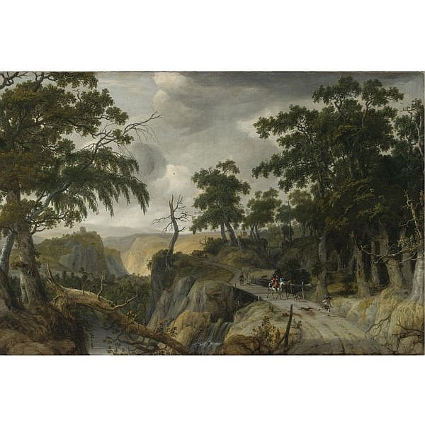 Jan Looten , Amsterdam 1618 - circa 1681 London A Rocky Wooded River Landscape with Travelers along a Path oil on canvas