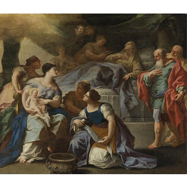 Giovan Battista Lama , Napoli c. 1673-1748 The Birth of the Virgin oil on canvas, unframed