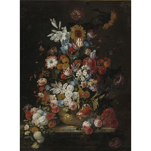 Hieronymus Galle the Elder , Antwerp 1625 - after 1679 Brussels (?) Still Life of Roses, Tulips, Morning Glories, Irises, Carnations, Lilies, Snowballs, a Sunflower and other flowers, in a sculpted vase resting on a ledge oil on canvas