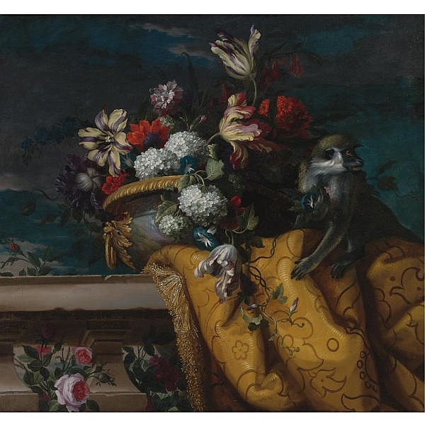 Jean-Baptiste Monnoyer , Lille 1636 - 1699 London Still Life of Tulips, Hydrangea and other Flowers in a Gilt Urn and a Monkey oil on canvas