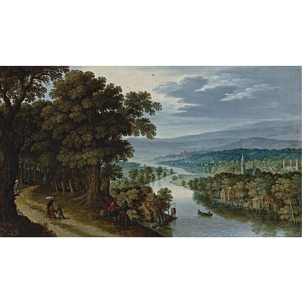 Maerten Ryckaert , Antwerp 1587 - 1633 A Panoramic Mountainous River Landscape with figures on a path, a village and fishermen beyond oil on panel