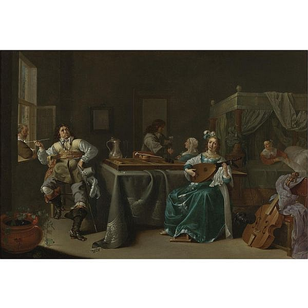 - Jacob Duck , Utrecht (?) circa 1600 - 1667 A Merry Company in an Interior oil on canvas