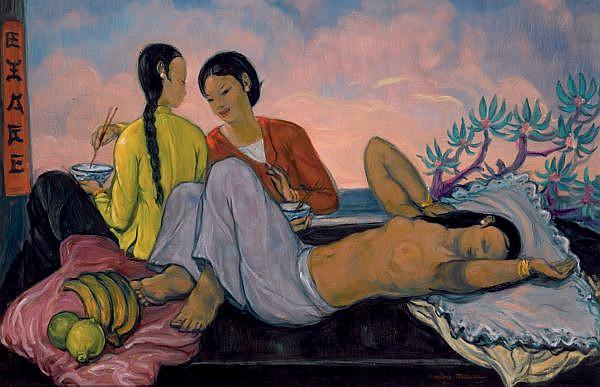André Maire 1898-1984 , Bord De Mer Au Vietnam oil on isorel