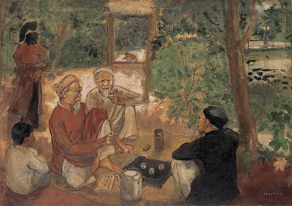 Mai Trung Thu 1906-1980 , Tea At Hué oil on canvas
