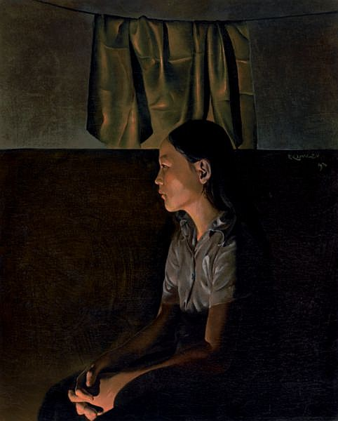 Do Quang Em B. 1942 , Portrait Of A Lady oil on canvas
