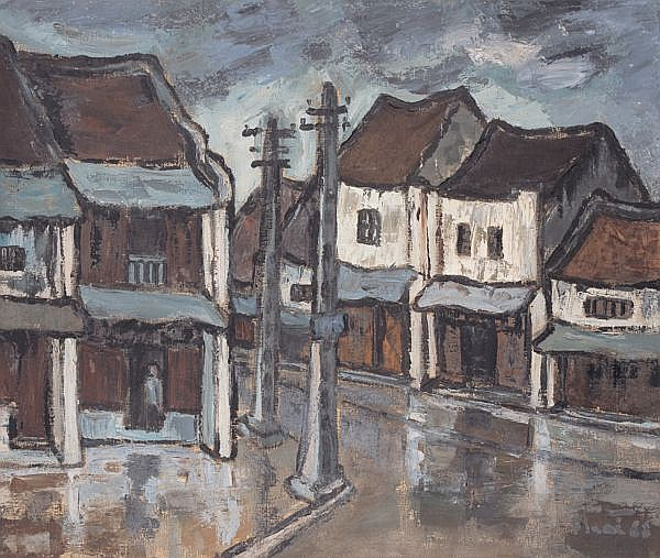 Bui Xuan Phai 1920-1988 , Houses oil on canvas