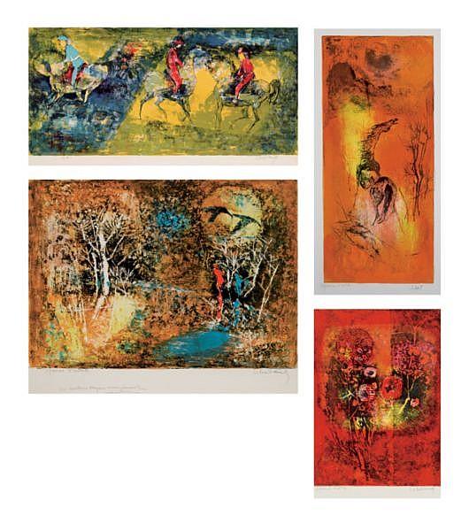 Lebadang b. 1921 , Cheval Dans La Montagne/ Le Champs De Courses/ Clair De Lune/ Nouvel An lithograph