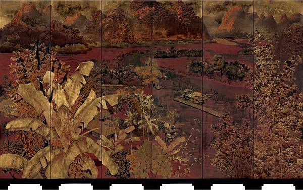 Pham Hau 1903-1995 , Alentours Du Fleuve Rouge, Tonkin lacquer on wood