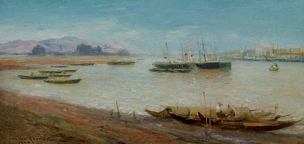 Gaston Roullet 1847-1925 , Vue D'un Port Au Tonkin oil on canvas