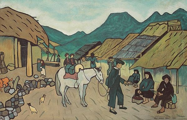 Bui Xuan Phai 1920-1988 , Village oil on canvas