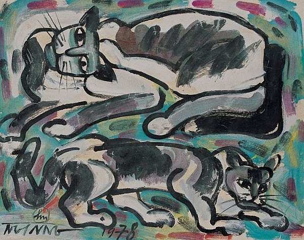 Nguyen Sang 1923-1988 , Cats watercolour on paper