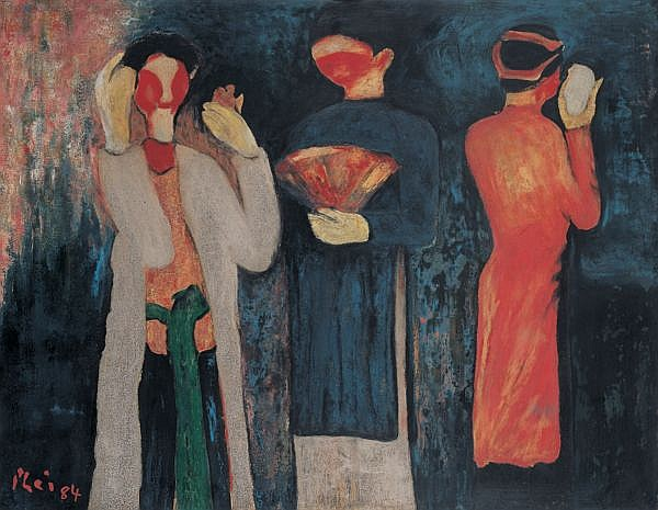 Bui Xuan Phai 1920-1988 , Cheo Actors lacquer on panel