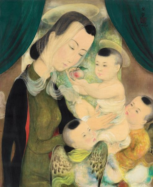 Le Pho 1907-2001 , Vierge À L'enfant ink and gouache on silk