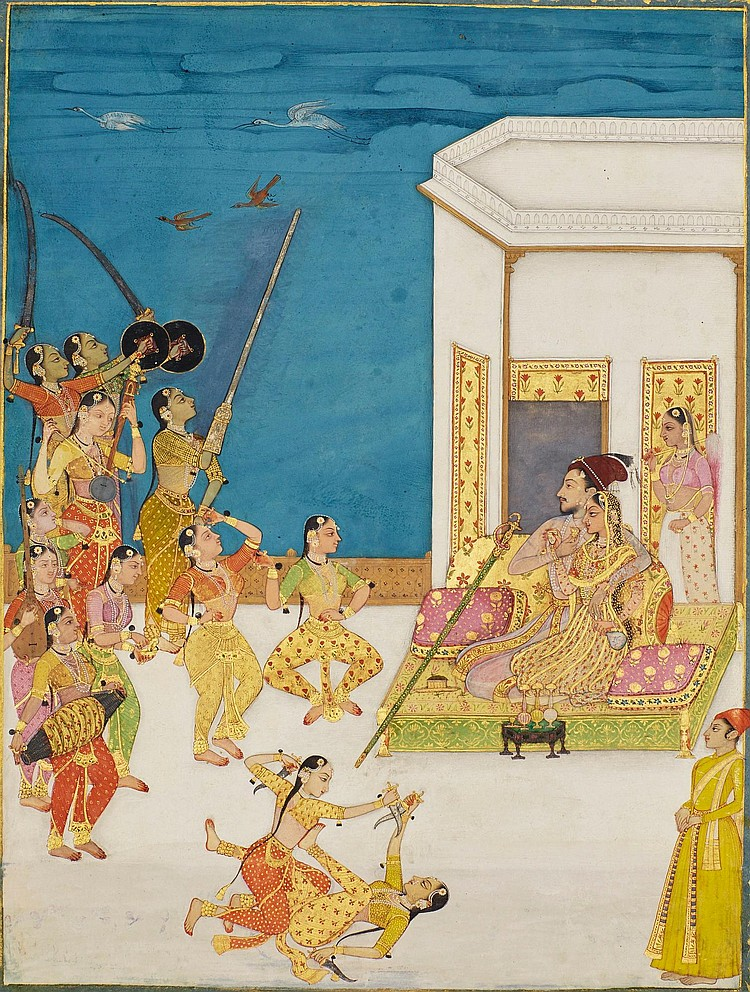 MUHAMMAD 'ADIL SHAH II (R.1627-56) ENTERTAINED ON A TERRACE, DECCAN, BIJAPUR, SECONDHALF 17TH CENTURY, PROBABLY ADAPTED IN KISHANGARH, EARLY 18TH CENTURY |