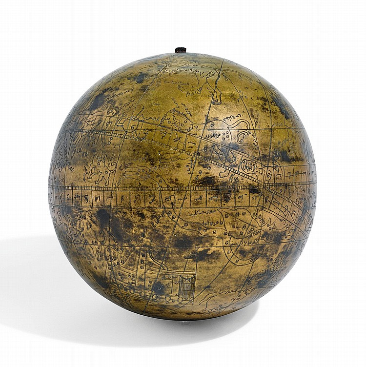 A BRASS CELESTIAL GLOBE, PROBABLY INDIA, SIGNED AND DATED 1232 AH/1816-17 AD |