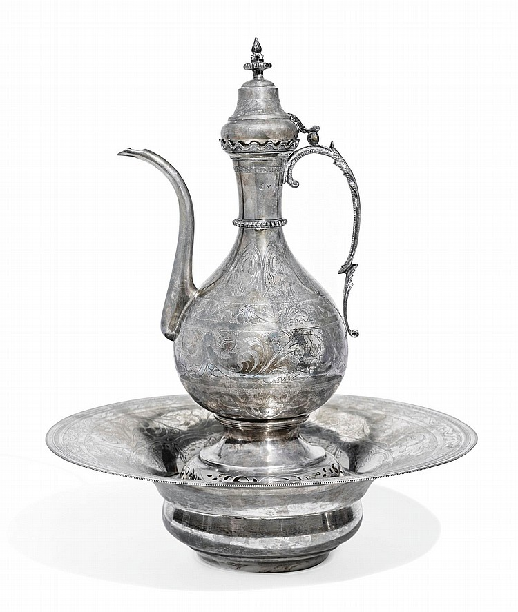 AN OTTOMAN SILVER EWER AND BASIN WITH TUGHRA POSSIBLY OF ABDÜLHAMID II (R.1876-1909), TURKEY, CIRCA 19TH CENTURY |