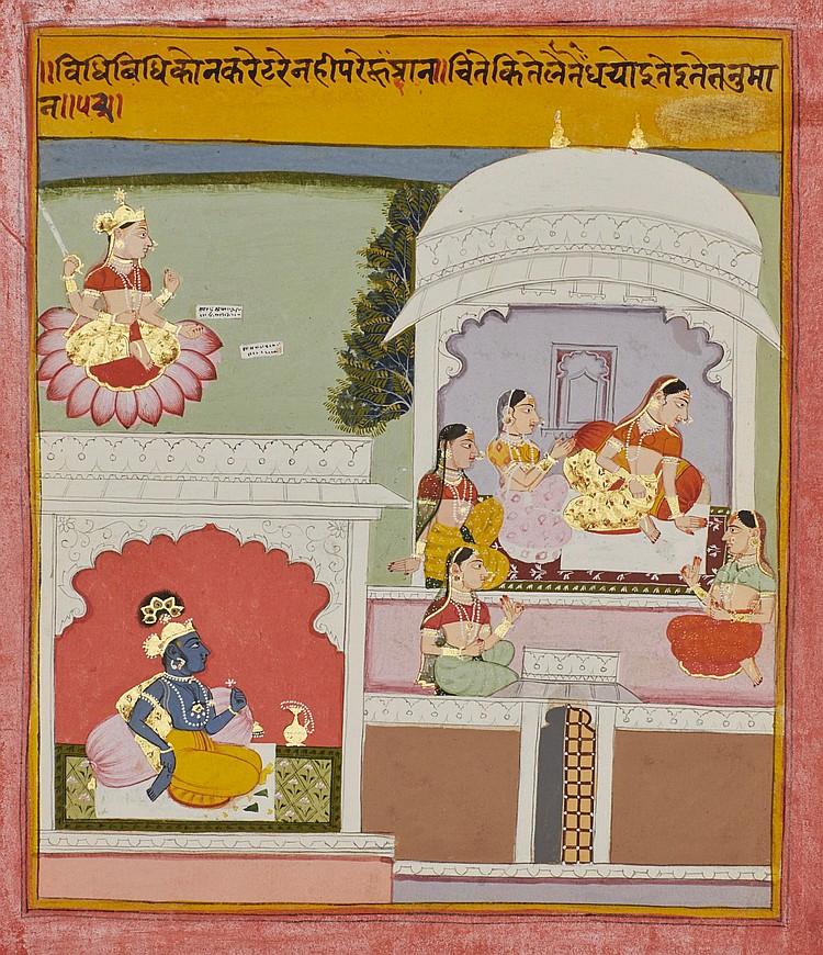 AN ILLUSTRATION TO A RASIKAPRIYA SERIES: RADHA RECEIVES COUNSEL FROM HER SAKHIS, INDIA,MEWAR, CIRCA 1720 |