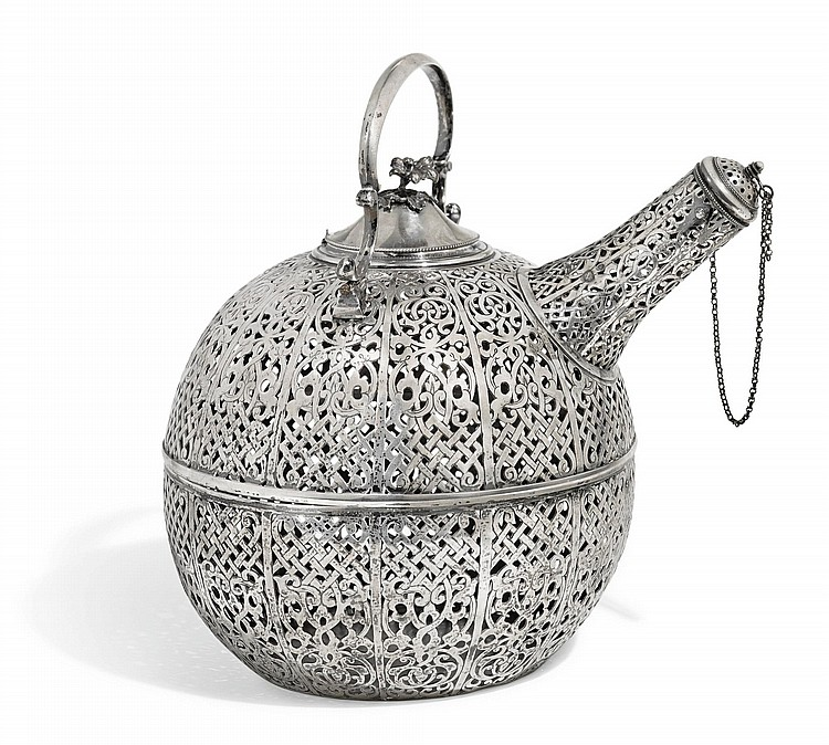A RARE OPENWORK SILVER COOLING VESSEL (KARLIK), WITH THE TUGHRA OF ABDÜLHAMID II (R.1876-1909) AND GLASS INTERIOR, TURKEY, 19TH CENTURY |