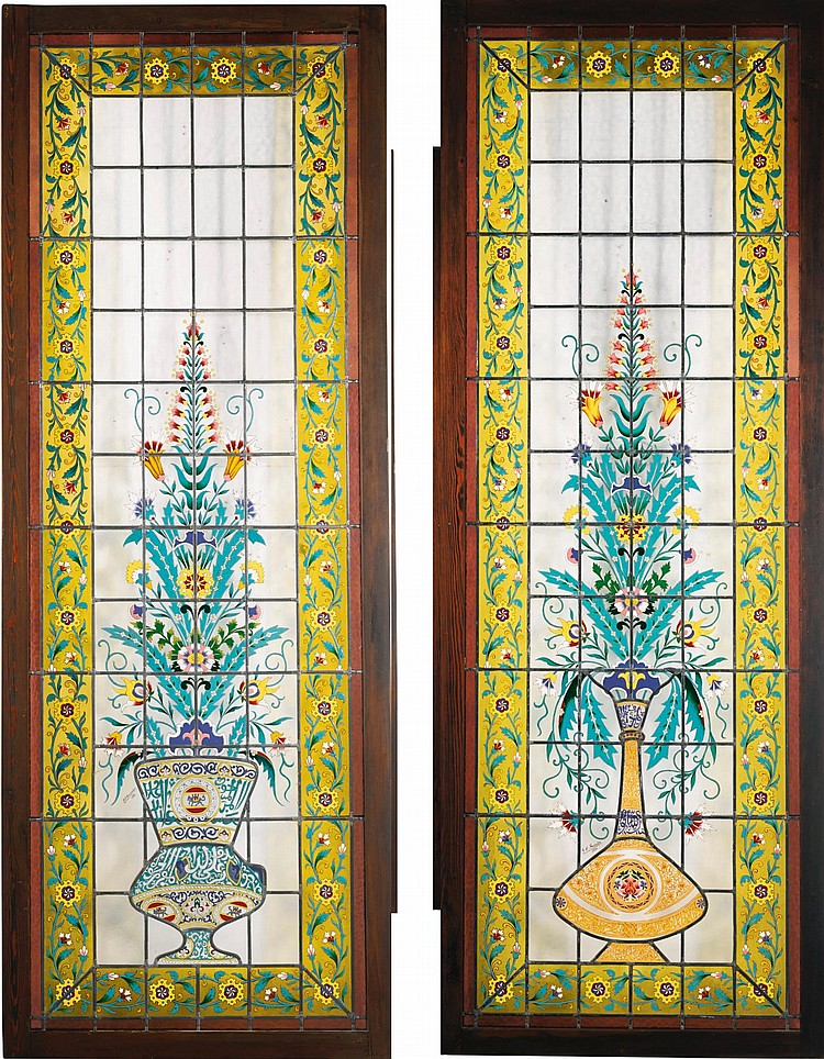 A LARGE AND IMPRESSIVE PAIR OF FRENCH ENAMELLED 'PERSIAN-STYLE' LEADED-GLASS DOUBLE-DOORS SIGNED BY J.P.IMBERTON, PARIS, DATED 1886 |
