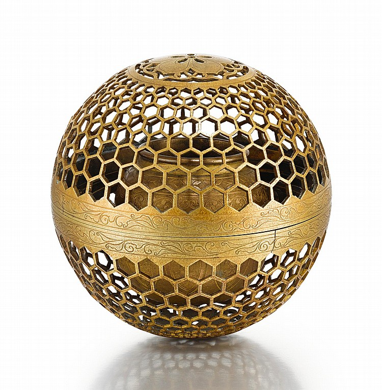 AN OPENWORK BRASS INCENSE BURNER, INDIA, DECCAN, 19TH CENTURY |