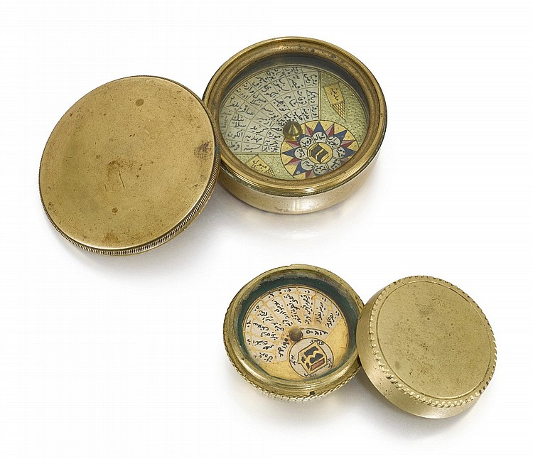 TWO OTTOMAN POCKET QIBLA COMPASSES, TURKEY, ONE DATED 1205 AH/1790 AD |