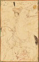 AMOUNTED HUNTER, ATTRIBUTABLE TO REZA-I 'ABBASI, PERSIA, SAFAVID, LATE 16TH CENTURY  