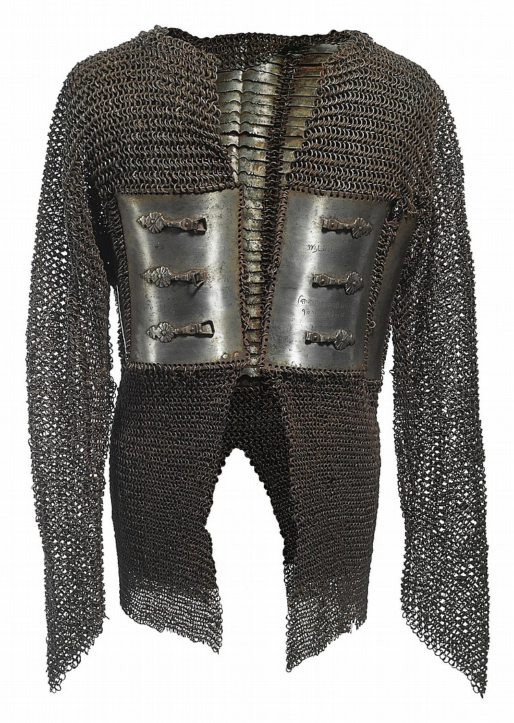 A FINE CHAINMAIL COAT INSCRIBED WITH THE NAME HABIB-SHAH IBN ASHRAF-SHAH KUKNAR, INDIA, DECCAN, LATE 17TH CENTURY |