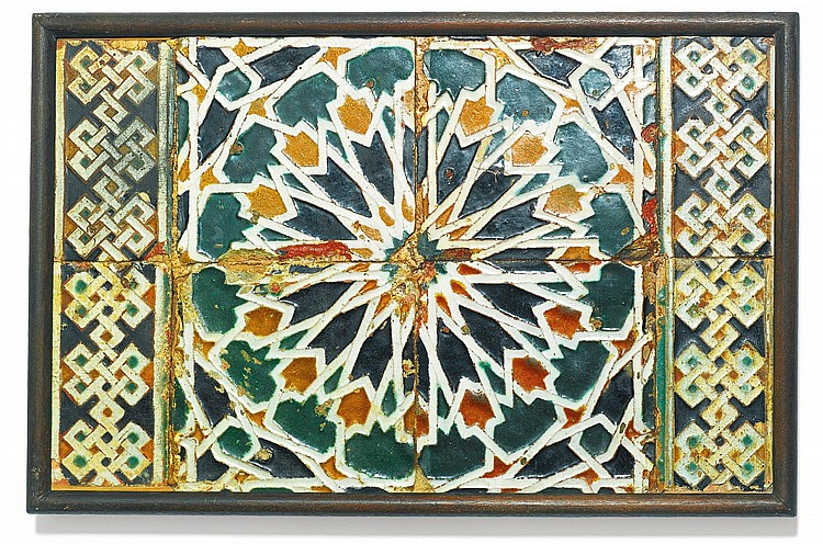 A PANEL OF ARISTA POTTERY TILES, SPAIN, TOLEDO, CIRCA 1475-1500 |