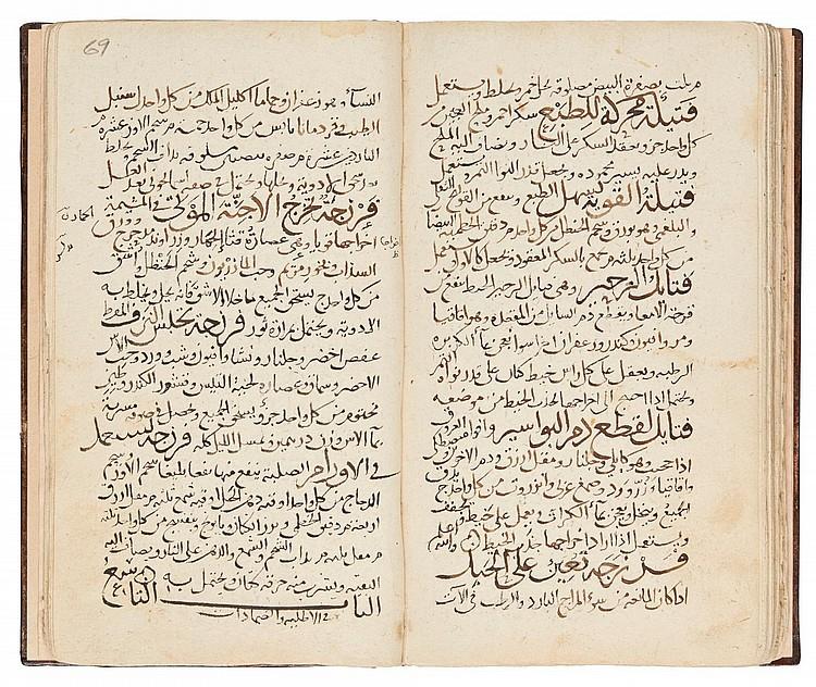 TWO MEDICAL WORKS IN ONE VOLUME: MAHMUD IBN 'UMAR JAGHMINI (D.1344),KITAB QANUNCHAH FI AL-TIBB ('THE LITTLE CANON ON MEDICINE');ABU AL-FADL DAWUD IBN ABI AL-BAYAN AL-ISRA'ILI (D. CIRCA 1240 AD),DUSTUR AL-ADWIYAH AL-MUSTA'MALAH FI