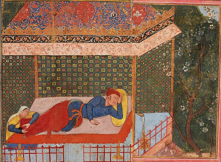 A WOMAN HOLDS THE FEET OF A MAN SLEEPING IN A PAVILION, A FRAGMENT FROM THE HAMZANAMA, INDIA, MUGHAL, CIRCA 1560-75 |