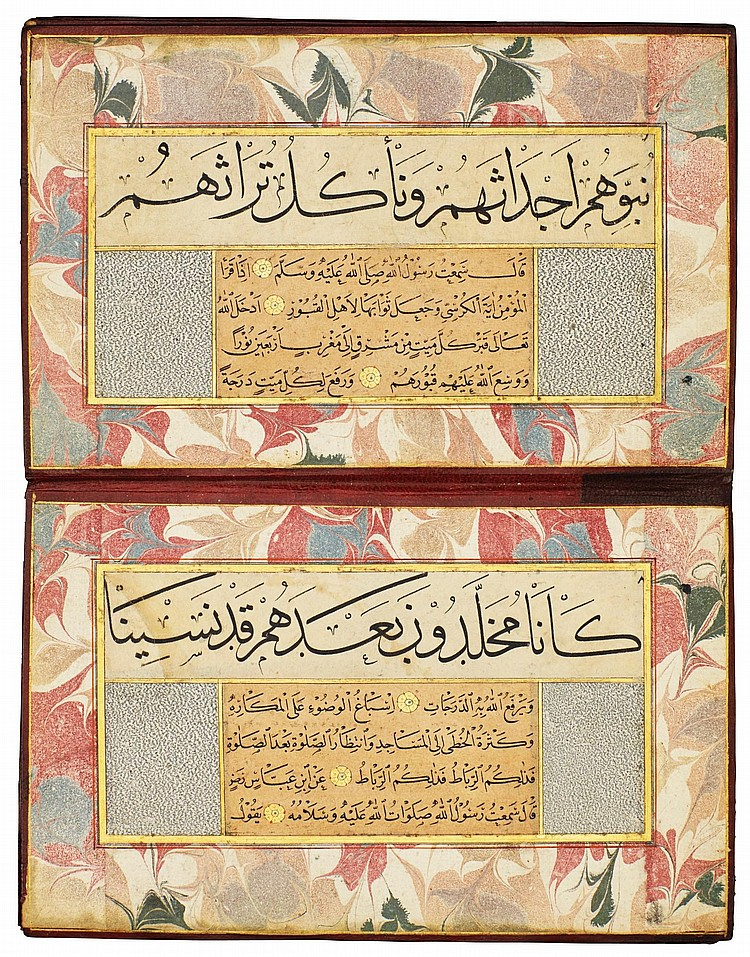 AN ILLUMINATED CALLIGRAPHIC MURAQQA', TURKEY, OTTOMAN, CIRCA 1550, WITH LEATHER BINDING, 18TH/19TH CENTURY |