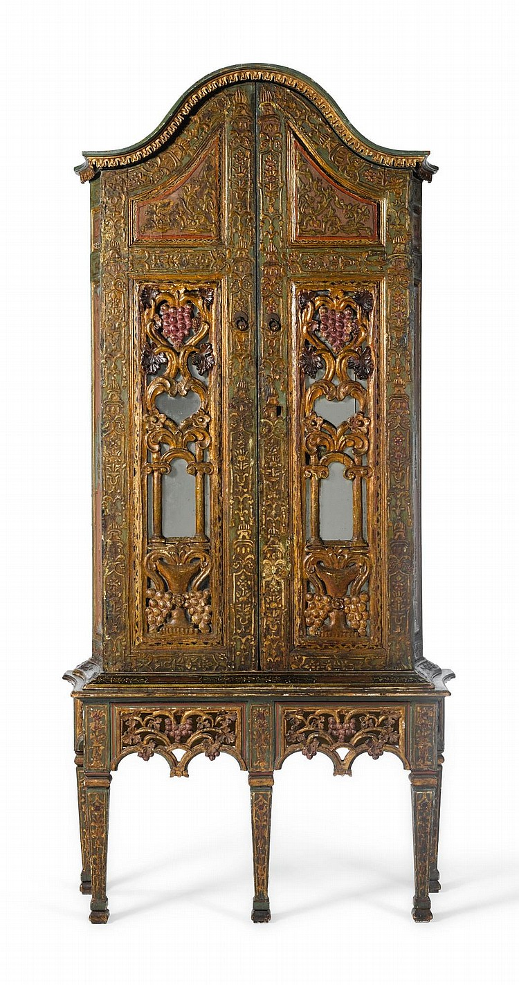 AN EDIRNE GILT-WOOD MIRRORED CABINET AND STAND, TURKEY, 19TH CENTURY |